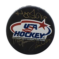 Herb Brooks, Mike Eruzione  Jim Craig Signed USA Hockey Logo Hockey Puck with Display Case (JSA ALOA