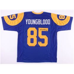 "Jack Youngblood Signed Los Angeles Rams Throwback Jersey Inscribed ""HF '01"" (Schwartz COA)"