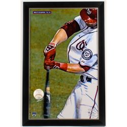 Bryce Harper Signed OML Baseball With 23.5x35.5 Custom Framed Baseball Holder Display (JSA Hologram)