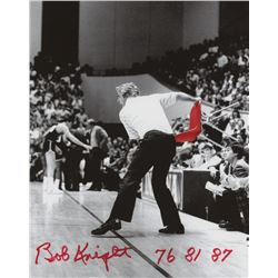 "Bobby Knight Signed Indiana Hoosiers 8x10 Photo Inscribed ""76 81 87"" (PSA COA)"