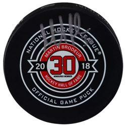 Martin Brodeur Signed Hall of Fame Logo Hockey Puck (Fanatics Hologram)