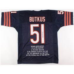 Dick Butkus Signed Chicago Bears Career Highlight Stat Jersey (JSA COA)