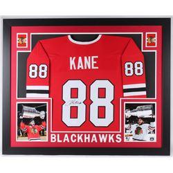 Patrick Kane Signed Chicago Blackhawks 35x43 Custom Framed Jersey (JSA COA)