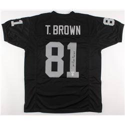 "Tim Brown Signed Oakland Raiders Jersey Inscribed ""HOF 2015"" (PSA COA  Brown Hologram)"