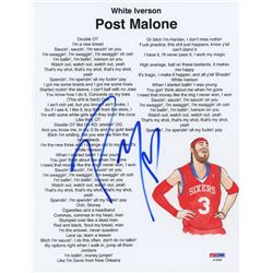 "Post Malone Signed ""White Iverson"" 8.5x11 Lyric Sheet (PSA Hologram)"