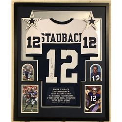 Roger Staubach Signed Dallas Cowboys 34x42 Custom Framed Career Highligh Stat Jersey (JSA COA)