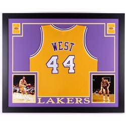 Jerry West Signed Los Angeles Lakers 35x43 Custom Framed Jersey (JSA COA)