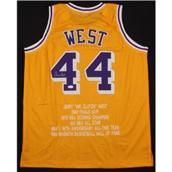 Jerry West Signed Los Angeles Lakers Career Highlight Stat Jersey (JSA COA)