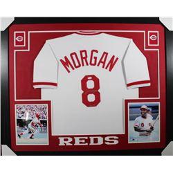 """Joe Morgan Signed Cincinnati Reds 35x43 Custom Framed Jersey Inscribed """"HOF 90"""" (JSA COA)"""