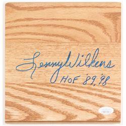 "Lenny Wilkens Signed 7.5x7.75 Wood Floorboard Piece Inscribed ""HOF '89, '98"" (JSA COA)"