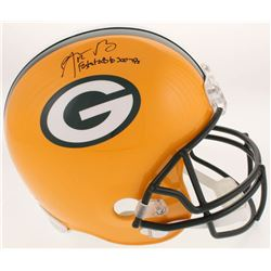 """Aaron Rodgers Signed Green Bay Packers Full-Size Helmet Inscribed """"Fastest QB to 300 TD"""" (Steiner CO"""
