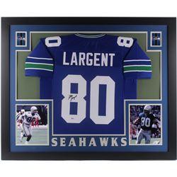 Steve Largent Signed Seattle Seahawks 35x43 Custom Framed Jersey (Beckett COA)