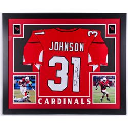 David Johnson Signed Arizona Cardinals 35x43 Custom Framed Jersey (Beckett Hologram)
