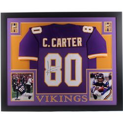Cris Carter Signed Minnesota Vikings 35x43 Custom Framed Jersey (JSA COA)