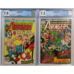 Lot of (2) CGC Graded 1973 The Avengers Marvel Comic Books with #117 (7.0)  #118 (7.5)