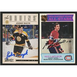 Lot of (2) Signed Hockey Cards with 1975-76 Topps #290 Guy Lafleur AS1  2012-13 Classics Signatures