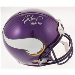 """Brett Favre Signed Minnesota Vikings Full-Size Authentic On-Field Helmet Inscribed """"HOF 16"""" (Radtke"""