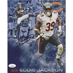 "Eddie Jackson Signed Chicago Bears 8x10 Photo Inscribed ""Bear Down!"" (JSA COA)"