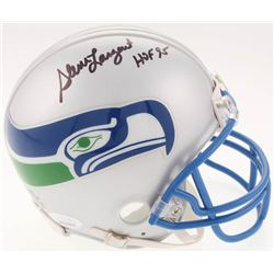 "Steve Largent Signed Seattle Seahawks Throwback Mini-Helmet Inscribed ""HOF 95"" (JSA COA)"