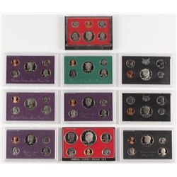 Lot of (10) United States Mint Proof Sets with 1970, 1972, 1978, 1980, 1983, 1985, 1987, 1988, 1992,