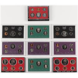 Lot of (10) United States Mint Proof Sets with 1968, 1972, 1973, 1976, 1981, 1986, 1988, 1990 ,1996,