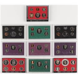 Lot of (10) United States Mint Proof Sets with 1971, 1972, 1977, 1979, 1982, 1986, 1989, 1990 ,1994,