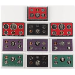 Lot of (10) United States Mint Proof Sets with 1969, 1972, 1974, 1975, 1981, 1984, 1987, 1993, 1996,