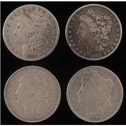 Lot of (4) Morgan Silver Dollars with 1881, 1883, 1890-O,  1921-D