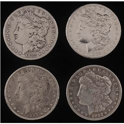 Lot of (4) Morgan Silver Dollars with 1882-S, 1883-O, 1887,  1921