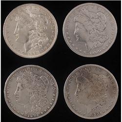 Lot of (4) Morgan Silver Dollars with 1880, 1892, 1900-O,  1921