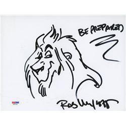"Rob Minkoff Signed 8.5x11 Cut with Original Sketch Inscribed ""Be Prepared"" (PSA COA)"