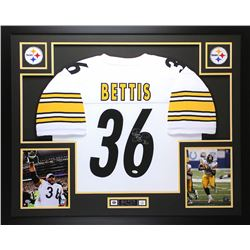 Jerome Bettis Signed Pittsburgh Steelers 35x43 Custom Framed Jersey Display (JSA COA)