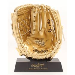 Don Mattingly Signed Rawlings Gold Mini-Baseball Glove with Display Stand (PSA COA)