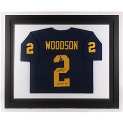 """Charles Woodson Signed Michigan Wolverines 35.5x43.5 Custom Framed Jersey Inscribed """"Heisman 97"""" (Ra"""