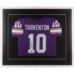 """Fran Tarkenton Signed Minnesota Vikings 35.5x43.5 Custom Framed Jersey Inscribed """"HOF 86"""" (Radtke CO"""