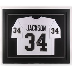 Bo Jackson Signed Oakland Raiders 35.5x43.5 Custom Framed Jersey (Radtke COA)
