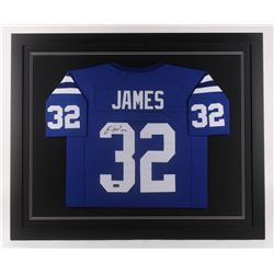 Edgerrin James Signed Indianapolis Colts 35.5x43.5 Custom Framed Jersey