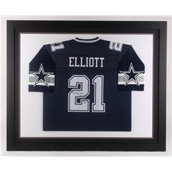 Ezekiel Elliott Signed Dallas Cowboys 35.5x43.5 Custom Framed Jersey (Beckett COA)