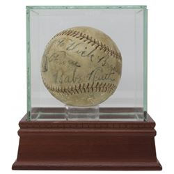 """Babe Ruth Signed League Special Baseball with High-Quality Display Case Inscribed """"From"""" (JSA LOA)"""
