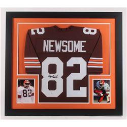 "Ozzie Newsome Signed Cleveland Browns 31x35 Custom Framed Jersey Inscribed ""HOF 99"" (JSA COA)"
