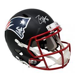 Dont'a Hightower Signed New England Patriots Custom Matte Black Speed Full-Size Helmet (Sports Integ