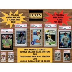ICON AUTHENTIC 2019 BASEBALL SERIES 1 DOUBLE GRADED CARD MYSTERY BOX (Guaranteed Babe Ruth PSA/DNA C