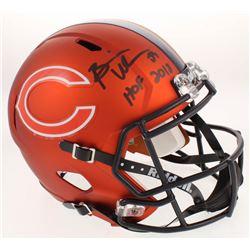 """Brian Urlacher Signed Chicago Bears Full-Size Custom Matte Orange Speed Helmet Inscribed """"HOF 2018"""""""