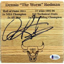 Dennis Rodman Signed 6x6 Custom Engraved Wood Floorboard Piece (Beckett COA)