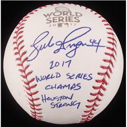 """Luke Gregerson Signed 2017 World Series Logo Baseball Inscribed """"2017 World Series Champs""""  """"Houston"""