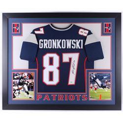 Rob Gronkowski Signed New England Patriots 35x43 Custom Framed Jersey (Beckett COA)