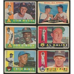 Lot of (6) 1960 Topps Baseball Cards With #10 Ernie Banks, #250 Stan Musial, #160 Rival All-Stars /