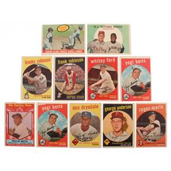 Lot of (11) 1959 Topps Baseball Cards with #563 Willie Mays All Star, #180 Yogi Berra, #387 Don Drys