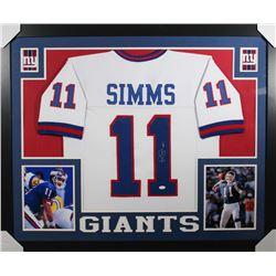 Phil Simms Signed New York Giants 35x43 Custom Framed Jersey (JSA COA)