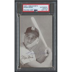 Roger Maris Signed Yankees 1947-1966 Exhibits Baseball Card (PSA Encapsulated)